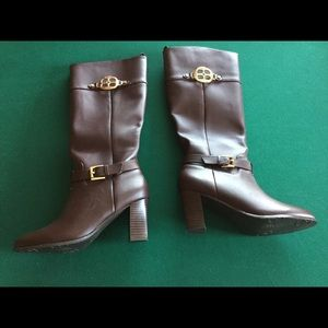 Iman Brown Leather Boots, New, Size 5.5